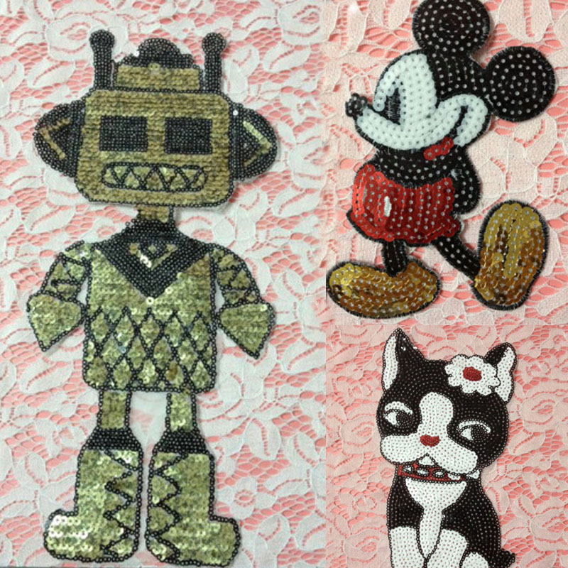 3pcs Robot Dog Mickey Sequins Patches Cartoon Patch For Clothing parches para la ropa Blouse Kids Dress Jeans Applique Badges(China (Mainland))