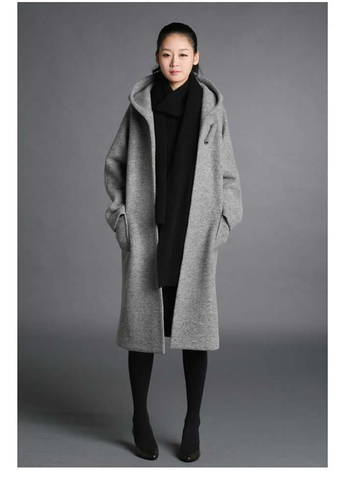 Womens Wool Winter Coats With Hooded - Tradingbasis
