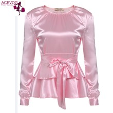 ACEVOG Dance Blouse Shirt Women Long Sleeve Pleated Layered Ruffles Bow Slim Fit Tie-Belt Peplum Tops With Lining Pink White
