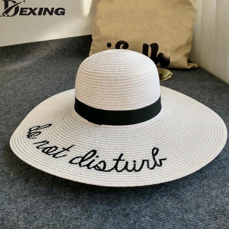 New Letter embroidery wide brim sun straw hat women summer hat beach folding Panama Hats Church Hat Bone Chapeu Feminino