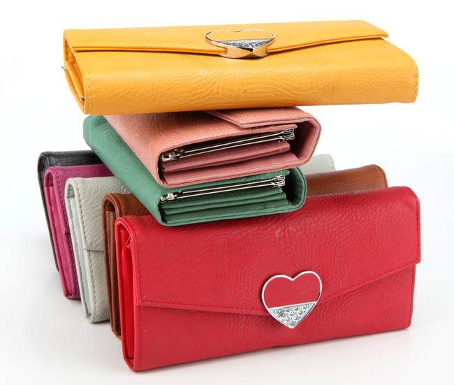 2014 Fashion Heart Pattern Women Wallet Crystal Card Purse Leather Wallets Ladies - Yu BeautyIng Industry Co.,Ltd. store