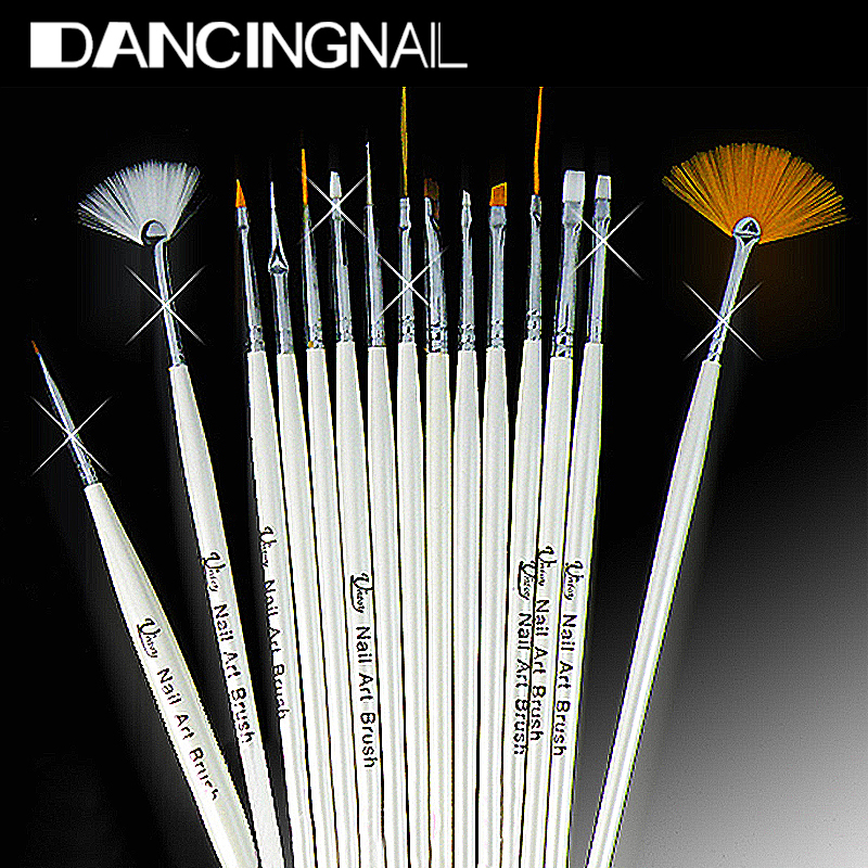 1Design Painting Pen Professinal Nail Art Brush Set Natural False 3D Tips Tool Beauty Brand New - Dancing Store store