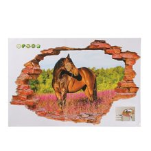 Wholesale Price 3D Wall Stickers Horse Landscape Mural Decal Quotes Art Home Decor(China (Mainland))
