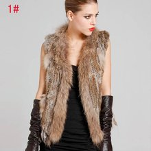 Ladies Genuine Knitted Rabbit Fur Vest Raccoon Fur Trimming Tassels Women Fur Natural Waistcoat Lady Gilet colete pele LJ869(China (Mainland))
