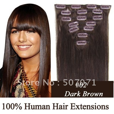 "16"" 18"" 20"" 22"" 24"" 26"" 8pcs full head remy indian hair clip in hair extensions clip extension #02 dark brown 100g/set 3sets"