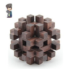 Chinese 3D Wooden Puzzle Model Educational Toys For Children Brain Teaser Ming/Luban Lock Numero Caro Wood Lock LH177(China (Mainland))
