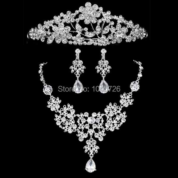 Woman Wedding Jewelry Hollow Flower Silver Plated CZ Rhinestone Tiara Necklace Earring Bride Sets - Blue Stone store
