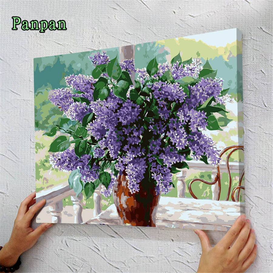 Vase Lavender DIY Pictures Painting By Numbers Diy Digital painting On Canvas With Frame Wall Painting Flower Cuadros decoracion(China (Mainland))