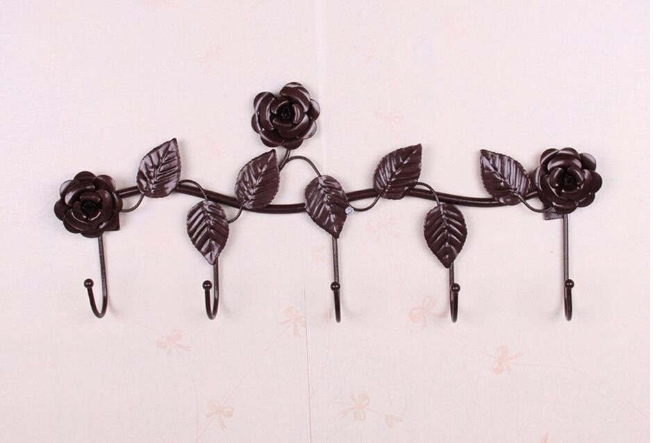 Rustic Decorative Wall Hooks Wrought Iron Traceless Metal