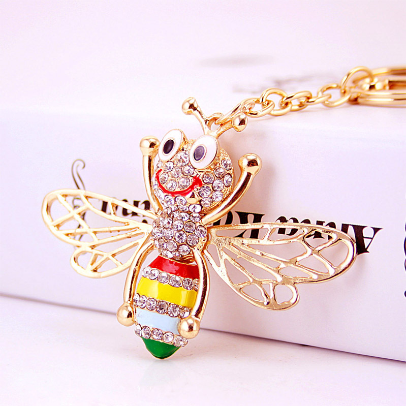 Enamel Cute Bee Crystal Rhinestone Keyrings cover Key Chains Holder For Car Purse Bag Pendant Buckle Best Gift Keychains K246(China (Mainland))