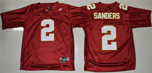 New Arrival High Quality Nike Nike Florida State Seminoles (FSU) Deion Sanders 2 College T-shirt Throwback Jersey - Red(China (Mainland))