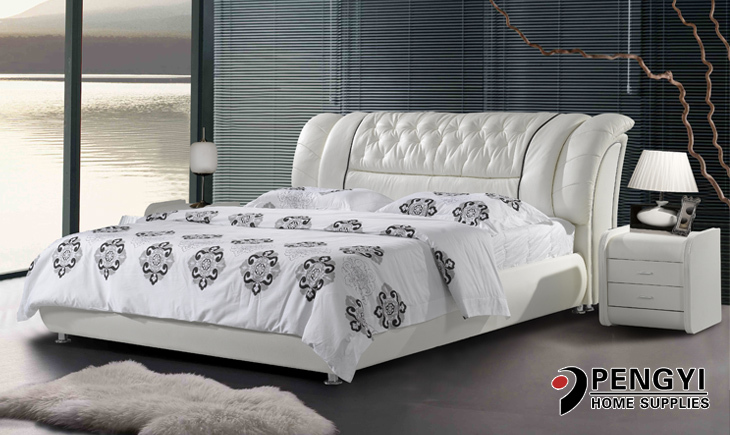 modern leather bed py-636(China (Mainland))