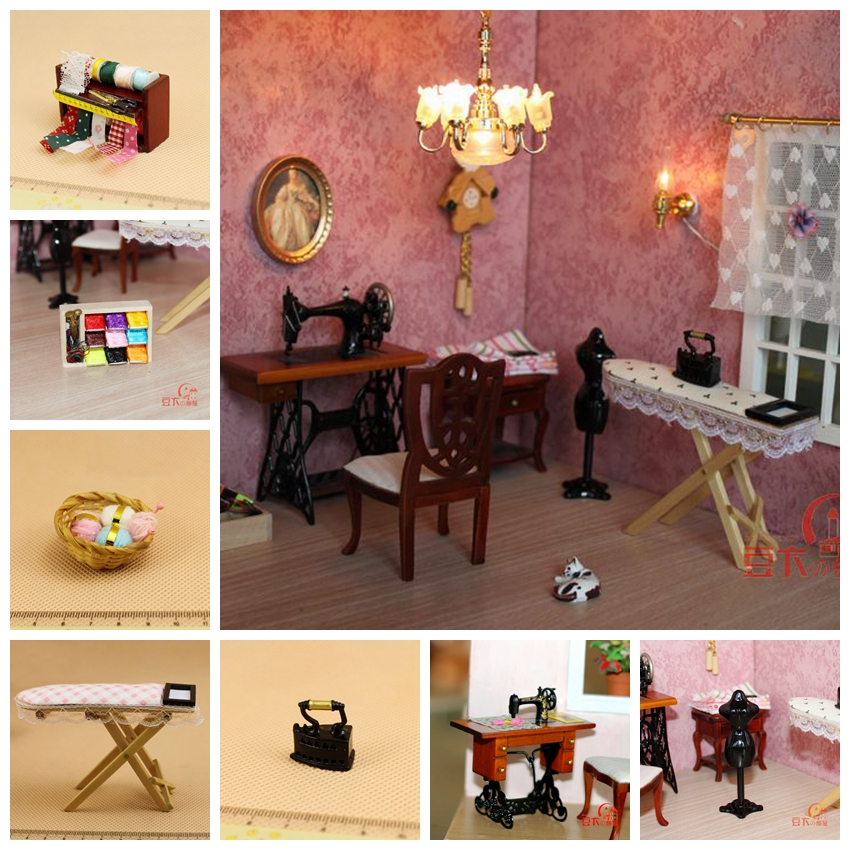 1:12 Dollhouse Miniature Sewing Room Furniture Set Sewing