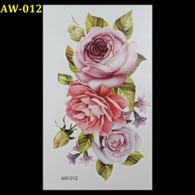 Wholesale Green leaves pink roses 3d tattoo Flash tattoos women arm temporary tattoo body art sticker sex products tatto tatoo