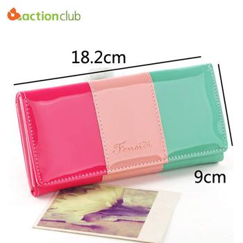Популярное 2014 новинка искусственная кожа женщин бумажник конфеты цвет леди кошельки ...