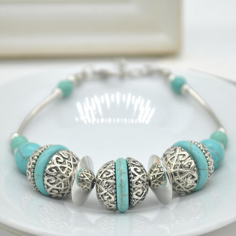 China Northwest Vintage Tibet Style Nature Green Turquoise Bracelets Women Hand-woven Antique Silver bracelet bangle C0SS1025-50(China (Mainland))