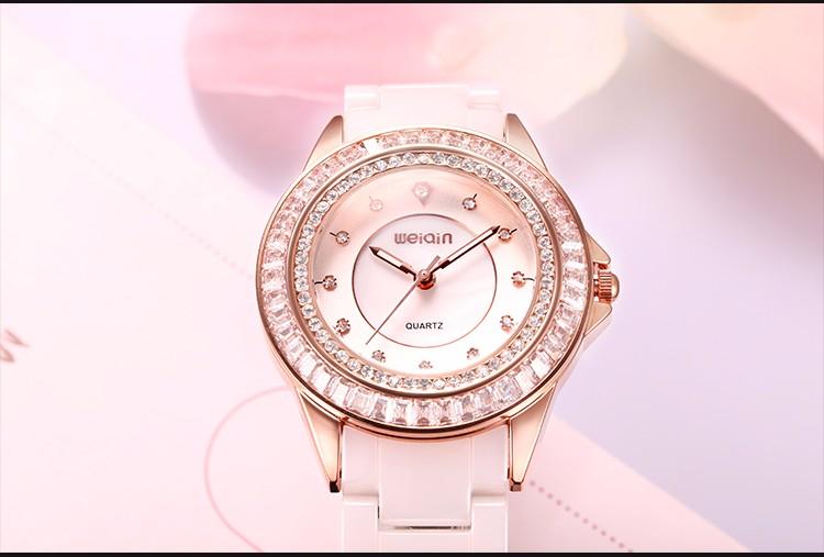 WEIQIN Горный Хрусталь Наручные Часы Женщины Luxury Brand Женские Часы Relojes Mujer 2016 Аналоговый Кварцевые Часы Relogios Feminino