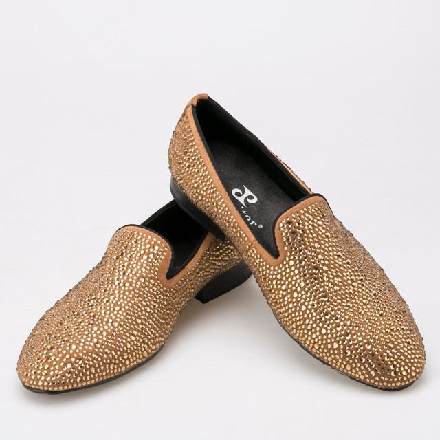 gold men rhinestone loafer shoes new arrival footwear leather lining US size 6-14 free shipping