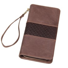 10Pcs/Lot Genuine Leather Brown Wallet/Clutch Bag