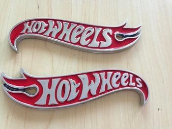 1 пара Chrome & RED Hot Wheels Пламя Эмблемы Hot Rod, Mustang, Camaro