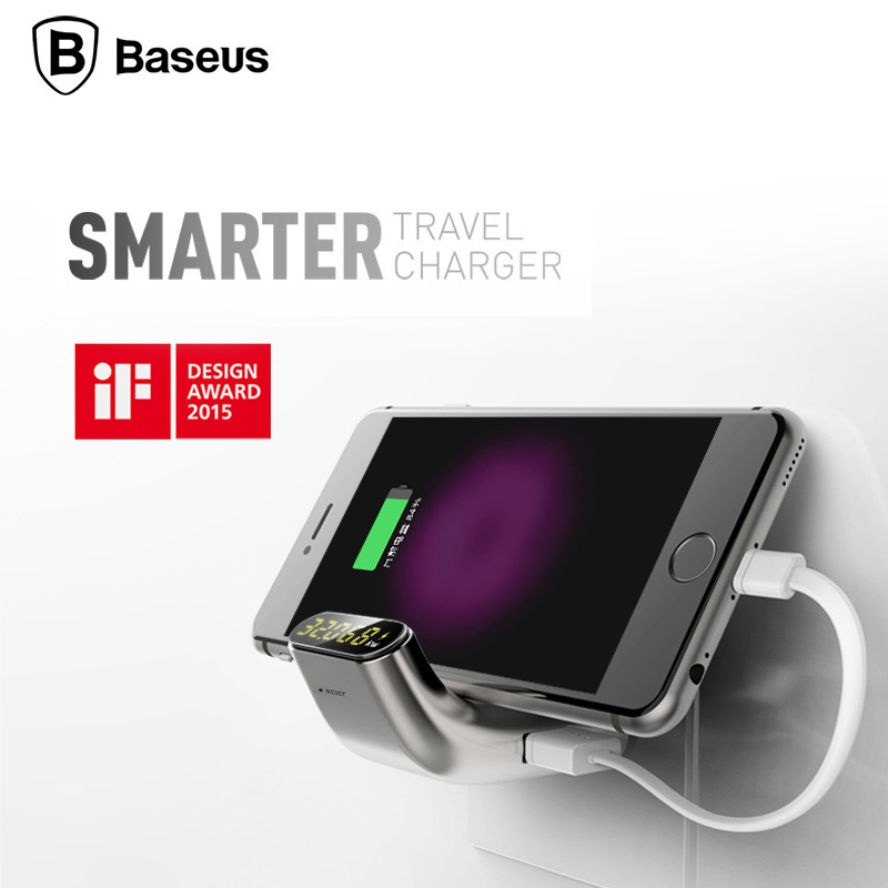 Original Baseus Smart Charger Portable Dual USB Travel Wall Smart Charger Adapter With Digital Display For iPhone Smartphone