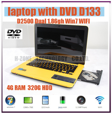 "Free Shipping brand new cheap 13.3"" ultrabook slim laptop notebook dvd-rw 4G 320G HDD IntelD2500 Dual 1.86ghz Win 7 WIFI Webcam(China (Mainland))"