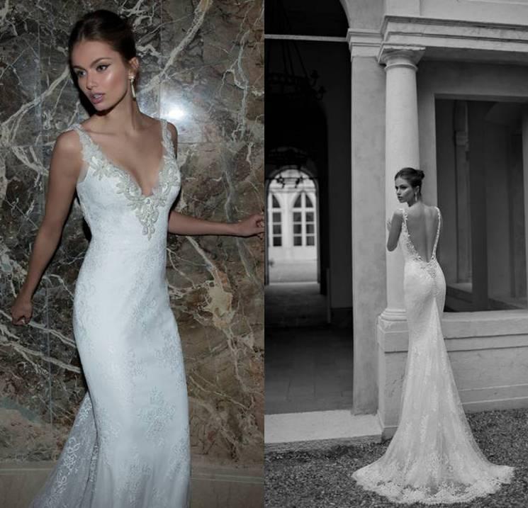 2015 berta bridal spring deep v neck sheath sexy backless for Sexy sheath wedding dress