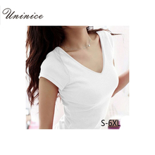 Plus Size 5XL 6XL Female Summer Style Short Sleeve T-shirts For Women Round V-Neck T Shirt Women Crop Tops Woman Clothes Fashion(China (Mainland))