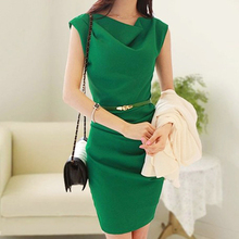Fashion Women Chiffon Casual Dress Green Bow Neck Zipper Back Office Vestidos Split Sleeveless Short Mini Vestido de Festa(China (Mainland))