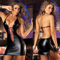 women gilding backless club leather lingerie party night dress women latex lingerie sexy disfraces 2 colors