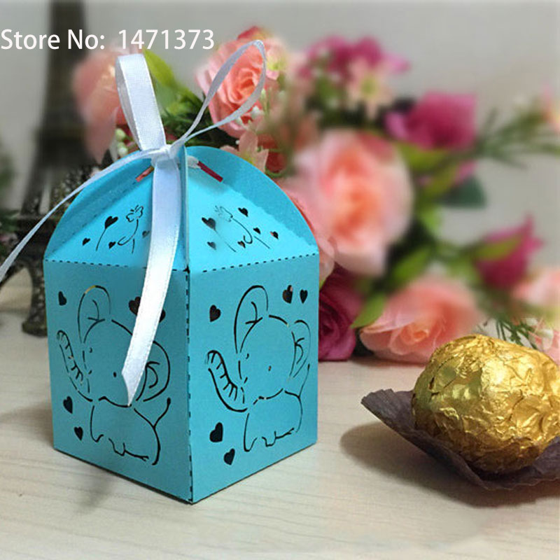 limited boda festa 50pcs laser cut elephant animals baby shower favors