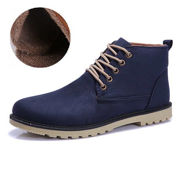 Suede leather Man Boot Mens Fashion Oxford Shoes Warm Plush Winter Martin Ankle Boots Men's Bota Masculina Sapato Work Snow - BLACK HORNS Group Ltd. store