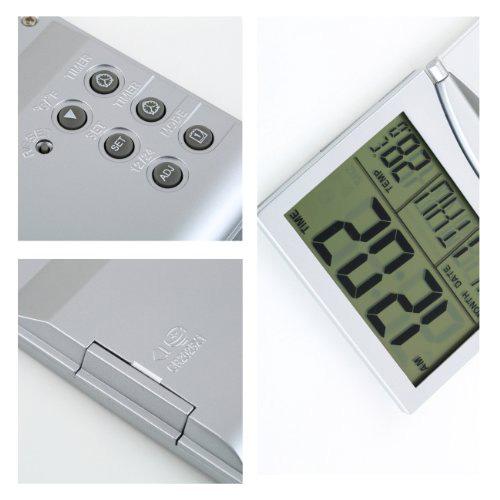 SZS Hot Silver Foldable Battery Supply Desktop Calendar Temperature Digital Alarm Clock(China (Mainland))