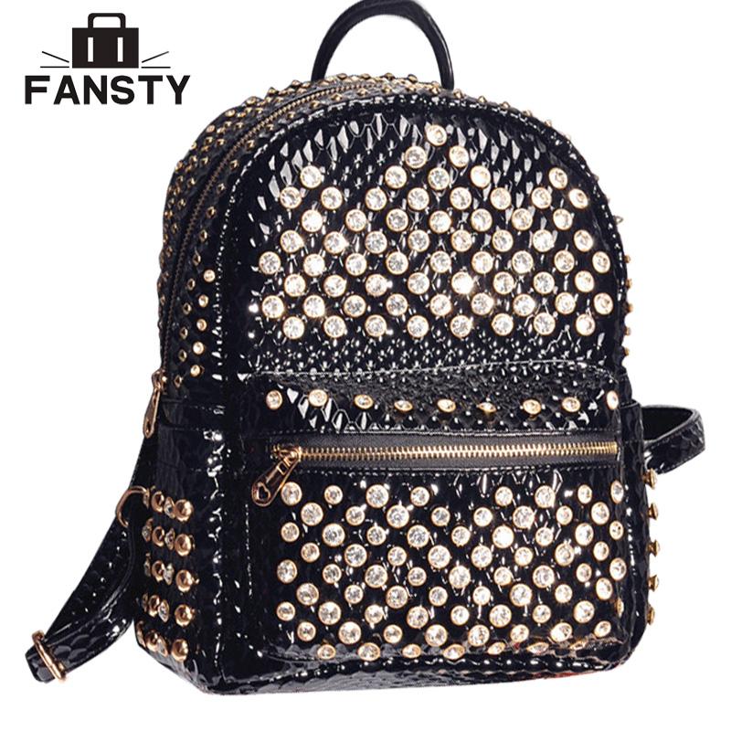 Fashion 2016 New Diamond Women Shine Leather Backpack Rivet teenage girl School Bags vintage Female Back Bag mochila feminina