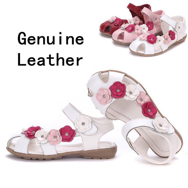 2015 НОВЫЙ 1 пара Цветок Детские Сандалии Обувь Из Натуральной Кожи, супер качество Девушка Сандалии + возраст 3-12 лет, ребенок сандалии