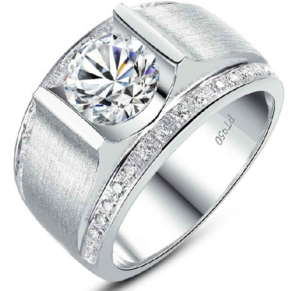 1 CT Handsome Man ring Synthetic Diamond Engagement Sterling Silver Ring Wedding Jewelry Platinum Plated Gift - CHARMING JEWELRY,.LTD store