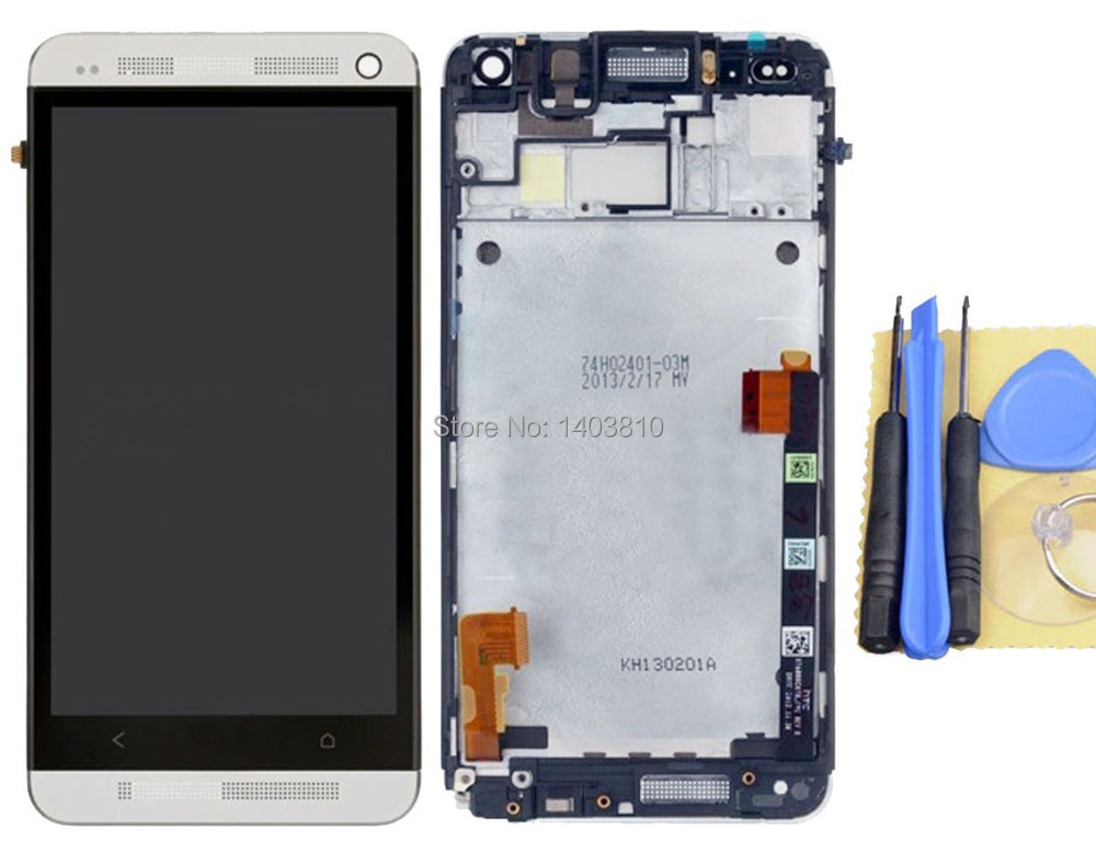 Original Test HTC One M7 801e LCD Display Digitizer Touch Screen + Frame Full Assembly Silver Tools - Shenzhen B Young Store store