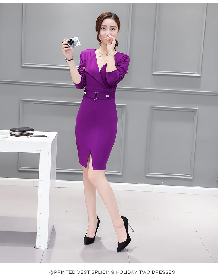 2016 Autumn Sexy Deep V-neck Tight Pencil Dresses Commute Pockets Work Wear Fashion Elegant Black Purple Bodycon Dress