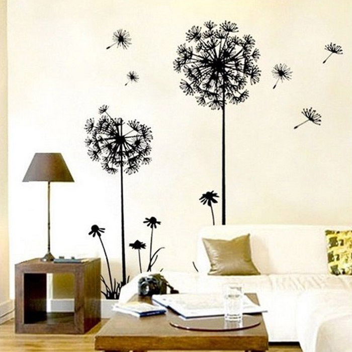 New Hot Creative Dandelion Wall Stickers Art Decal Sticker Removable Mural PVC Home Decor Free Shipping&Wholesale Kimisohand(China (Mainland))