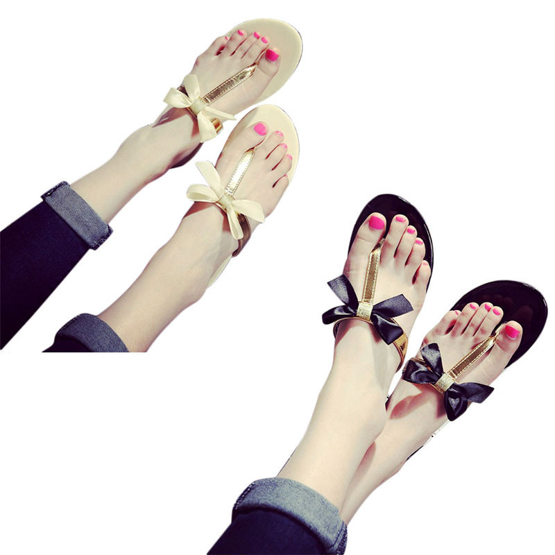 Black And Gold New Luxury Bow Thong Jelly Shoes Woman Jelly Flip Flops Women Bowtie Sandals Flat PU Leather Slippers Wholesale(China (Mainland))