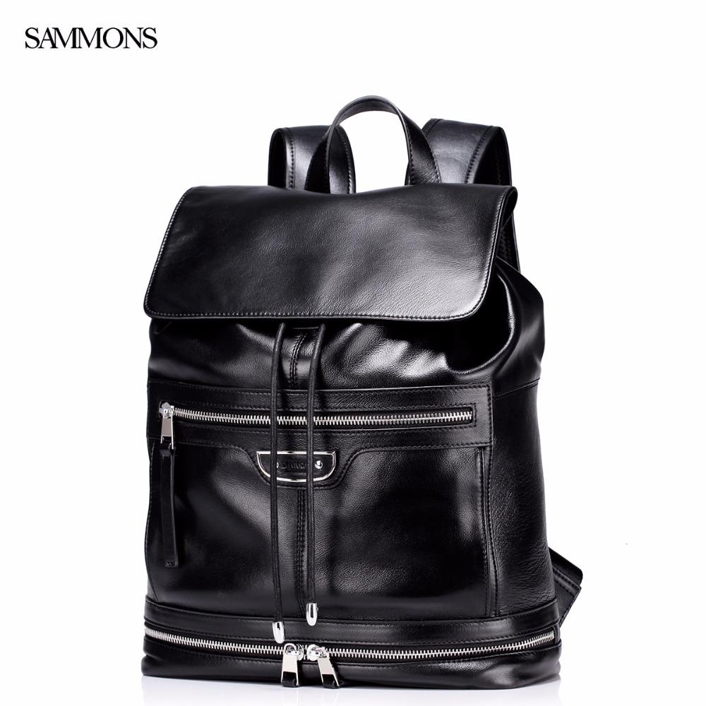 Фотография SAMMONS Brand Design New Fashoin Genuine Cow Leather Drawstring Men Business Casual Travel Backpacks Bag
