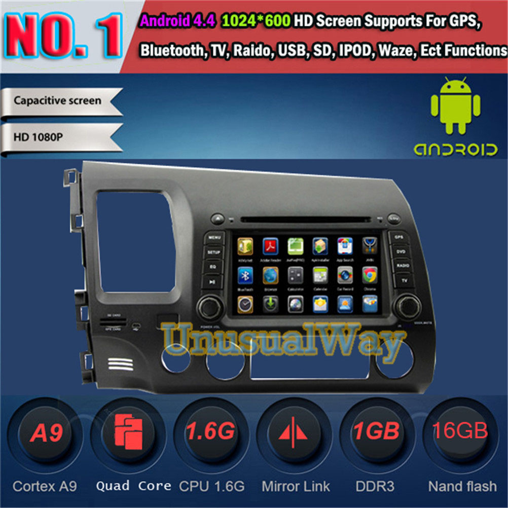 Android 4.4.4 Car DVD Player for Honda CIVIC 2006-2011 Quad core 16G Car gps navigator HD 1024*600 Free Shipping(China (Mainland))