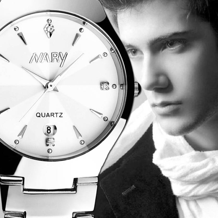 2015 men watch 1PC Luxury Men Single Calendar Quartz Stainless Steel Date Wrist Watches for free shipping Montre<br><br>Aliexpress