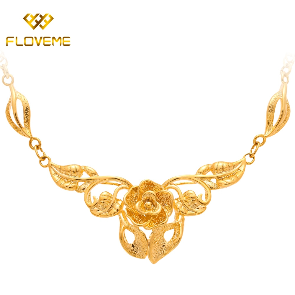 Romantic Flower Leaves Pendant Necklaces Jewelry > & Pendants Shinny Cute Women Lovely Girl Fashion Lady - Floveme Bestsell Watch Store store