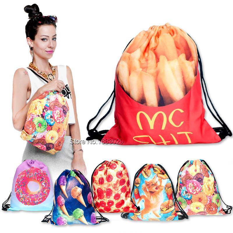 2015 new fashion escolar backpack 3D printing travel softback man women mochila feminina fast food drawstring