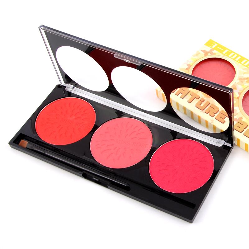 MISS ROSE Naked Blush Brand Makeup Face Blusher Colorete Colour Pop Blush Palette Beauty Cosmetics 3 Colors(China (Mainland))