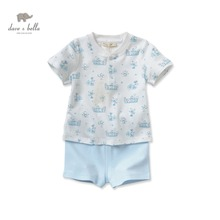 DB2553 dave bella summer baby clothing sets infant clothes boys sets boys print cloth kid blue clothing sets
