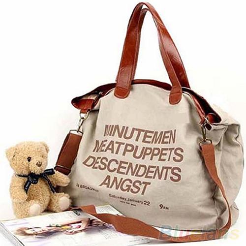 Bluelans Women's Large Capacity Canvas Letter Tote Messenger Handbag Shoulder Bag(China (Mainland))