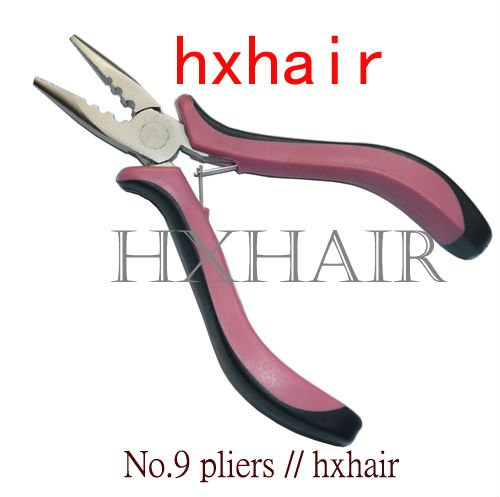 Freeshipping - 100pcs No.9 Pink Handle Hair Extension Pliers/pliers / Straight Head with Teeth and Holes / Hair Extension Tools