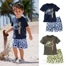 Summer 2016 New bran baby boys sets,Dinosaur kids clothes Cotton baby boys clothing suits children short t-shirt+shorts sports